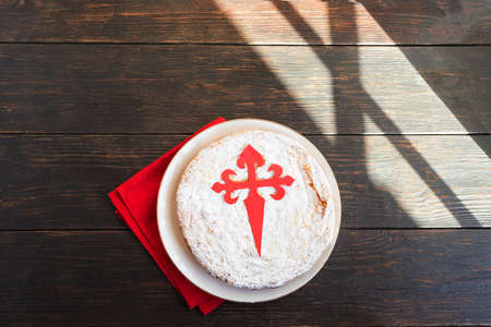 Tarta de Santiago (St. James cake) famous Spanish almond cake typically made in Galicia. It is usually decorated with powdered sugar creating a silhouette cross of Santiago.