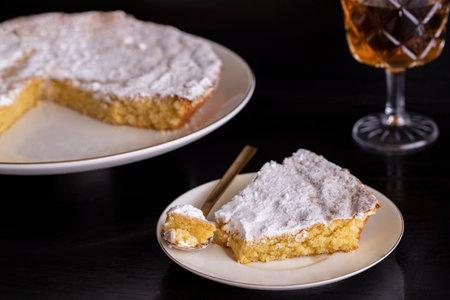 Tarta de Santiago (St. James cake) famous Spanish almond cake typically served with sweet wine.
