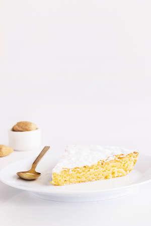 Close up of Almond cake slice. Cake Texture background.