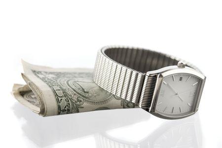 mans watch: Plegado de plata de ley en virtud del tono del hombre de ver, en blanco con una reflexi�n  Foto de archivo