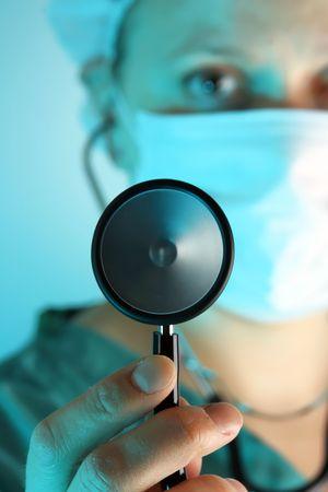 hmo: Close-up da un esame medico femminile con stetoscopio