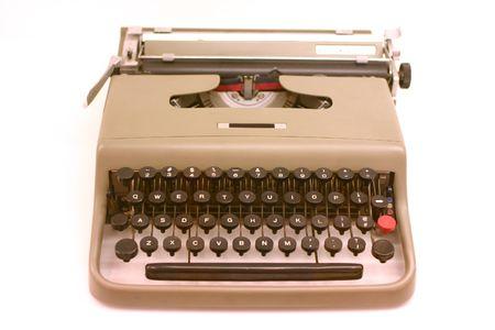 collectibles: old fashioned retro typewriter on white ground Stock Photo