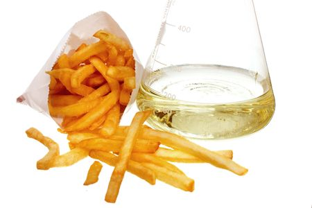 drenched: french fries and beeker full of liquid trans fat on white ground
