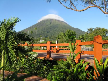 Scenic View of Arenal Volcano, an Active Andesitic Stratovolcano in North-Western Costa Rica