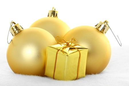 gold christmas ornaments against white ground stock photo 4071718 - Gold Christmas Ornaments