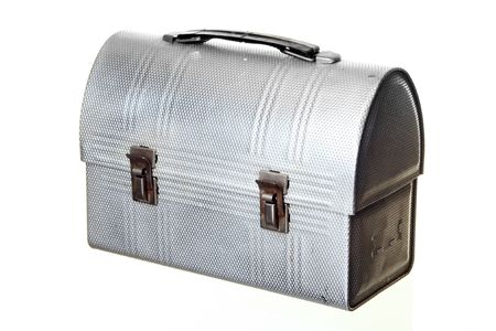 lunch box: Old-fashioned Lunch Box, isolated against white ground