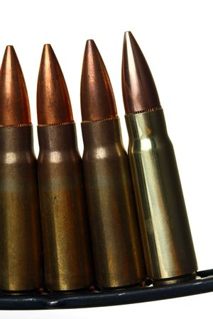 Clip of Semi-automatic Rifle Bullets, Against White Ground Stok Fotoğraf