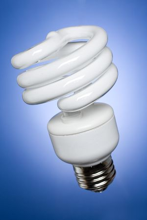 resourceful: Diagonal, compact fluorescent light bulb on soft blue gradient background.