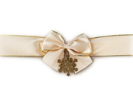 Gift ribbon with snowflake on a white background Stock Photo