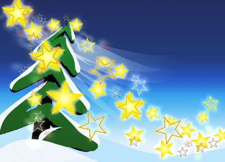 Stock Photo:   New Year  christmas greeting card (star with glow) Stock Photo