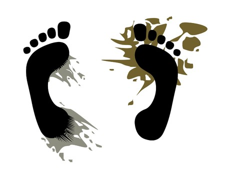 footsteps with dirt; stepped in the mud