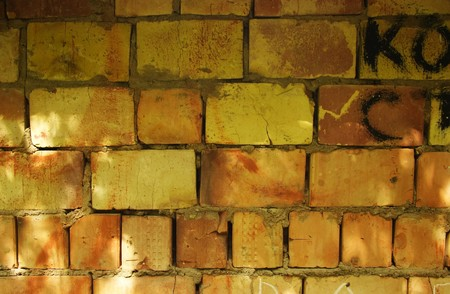 rough brick wall with spots of sunlight
