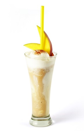 Coffee cocktail with ice-cream and mango in glass