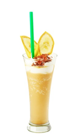 musetti: Coffee cocktail with ice-cream and banana in glass Stock Photo