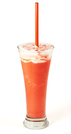 musetti: Coffee cocktail with strawberries in glass Stock Photo