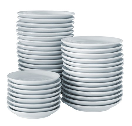 Pile clean side plates Stock Photo - 7540001