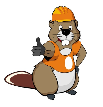 beaver tail: draw of funny beaver-working in helmet