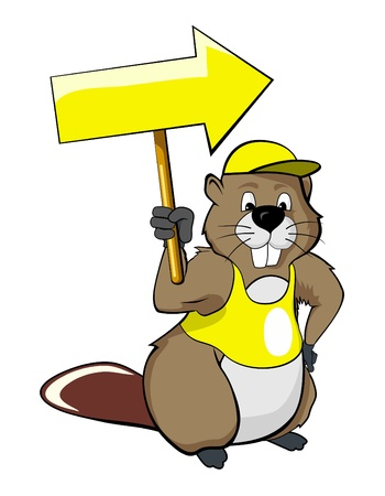 yellow attention: cartoon beavers with a pointer (arrow)