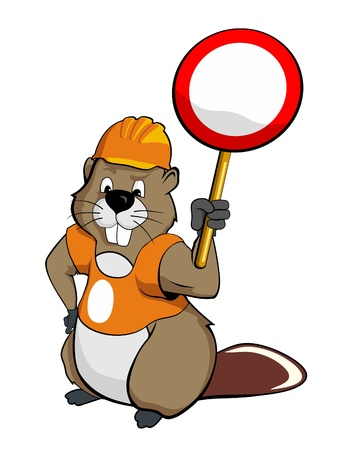The Beaver wearing a helmet and holding a sign (vector illustration) Stock Photo