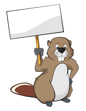 Beaver holding a nameplate illustration