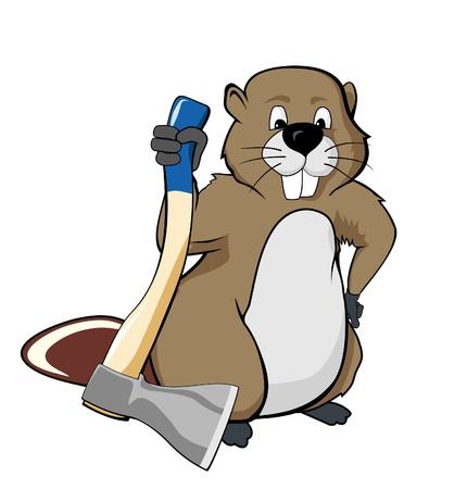 castor: Beaver la celebración de una ilustración hacha Foto de archivo