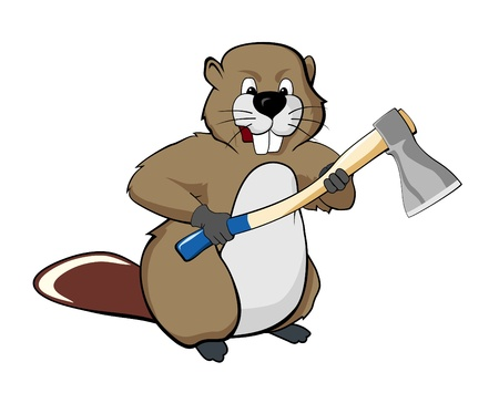 beaver tail: Beaver with an axe illustration