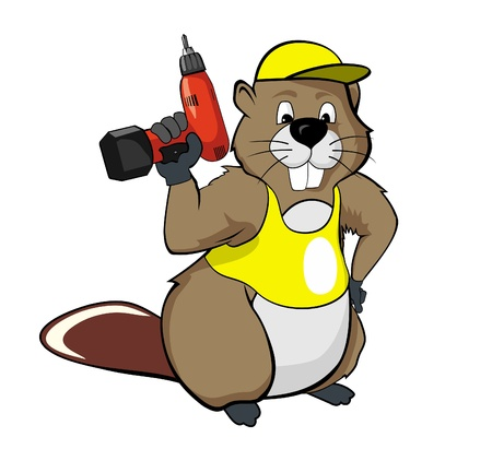 beavers: the cartoon beavers with a screwdriver Stock Photo