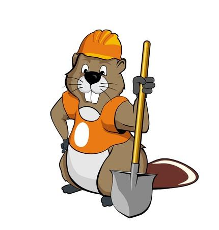 biber: Beaver tr�gt einen Helm und h�lt einen Spaten Illustration