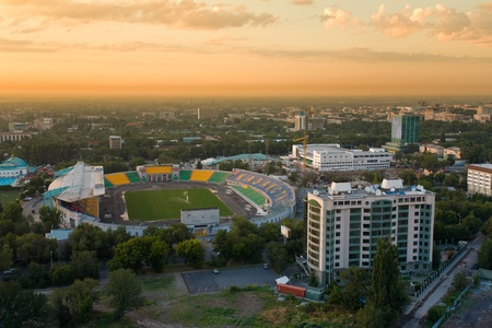 Central stadium of Almaty. On the seat stadium inscription KAZAKHSTAN