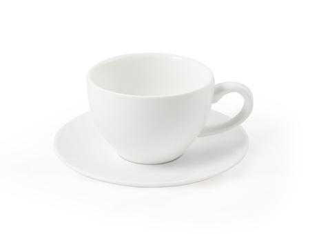 teacup with saucer on the white