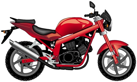 side view of red motorcycle