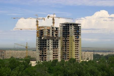Building erection in Almaty city