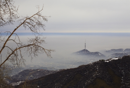Mountain, like island in fog  photo