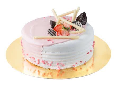 Isolated delicate whitepink cake with strawberry and chocolate