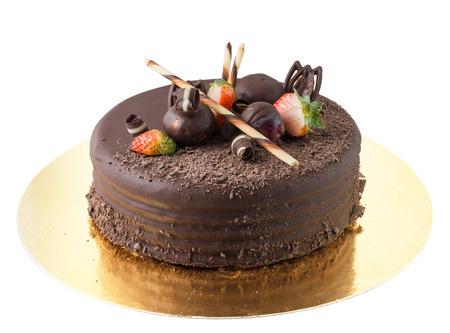 Isolated chocolate cake on White Background