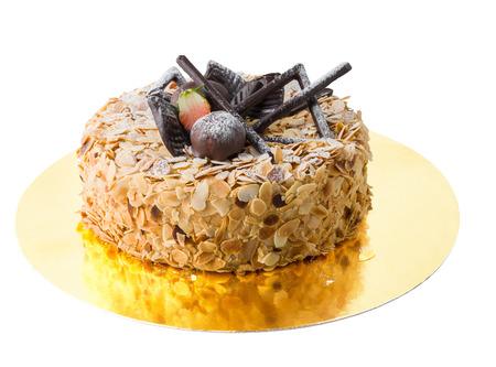 Isolated cake with mandel on White Background Stock Photo
