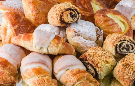 Few kinds of croissant and danish rolls