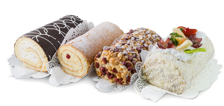four kinds of sweet rolls, isolated on white background