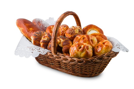 Pastry in the basket, isolated on white background Stock Photo