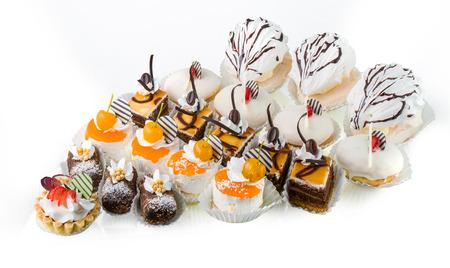 Six types of cakes, isolated on white background