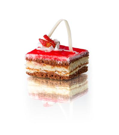 rectangular piece of layered cake with strawberry, isolated on white background Stock Photo
