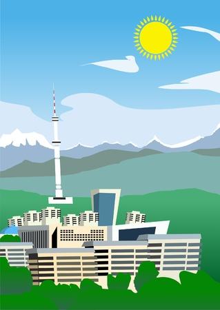 funny semi-abstract image of Almaty city, Kazakhstan. (vector)