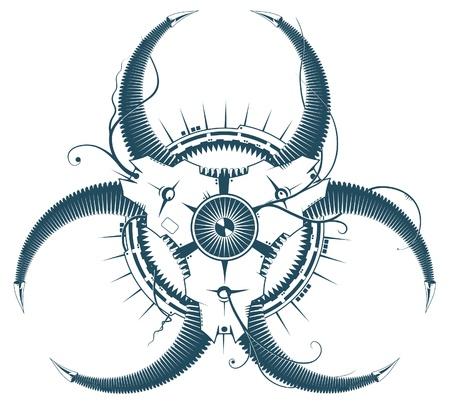 virus informatico: Elemento de la fantástica máquina cibernética, afectado por el virus. (Parece un signo de riesgo biológico