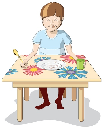 Boy has eaten all with appetite Illustration