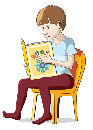 little boy reading the book