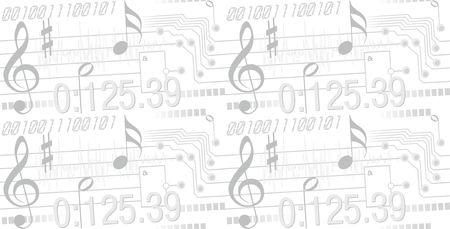 Digital music (seamless vector background) Illustration