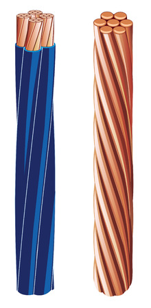metal parts: Copper electrical cable (vector figure)