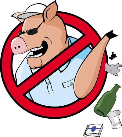 The Sign, calling people not to become like the pig - not to litter. Illustration