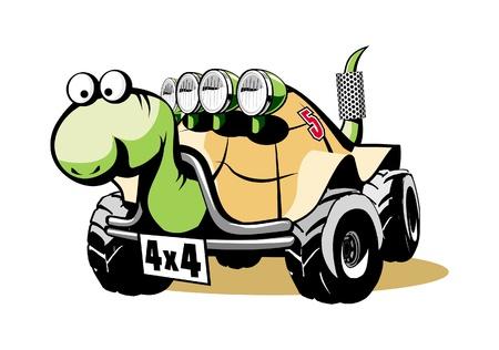 Off-road turtle. Cartoon funny vector. Illustration