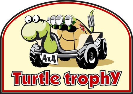 4wd: Funny label for off-road trophy (vector)